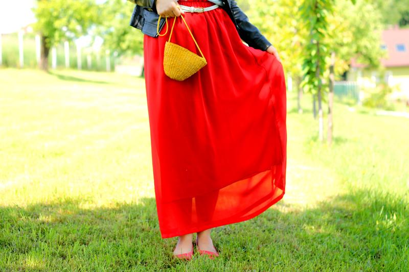 czerwona spodnica maxi