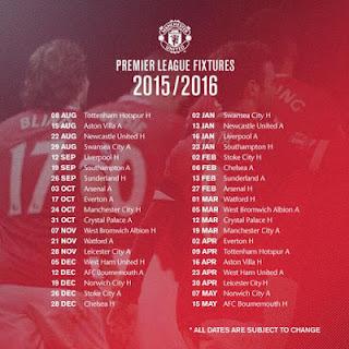 Jadwal Manchester United di Liga Inggris 2015-2016