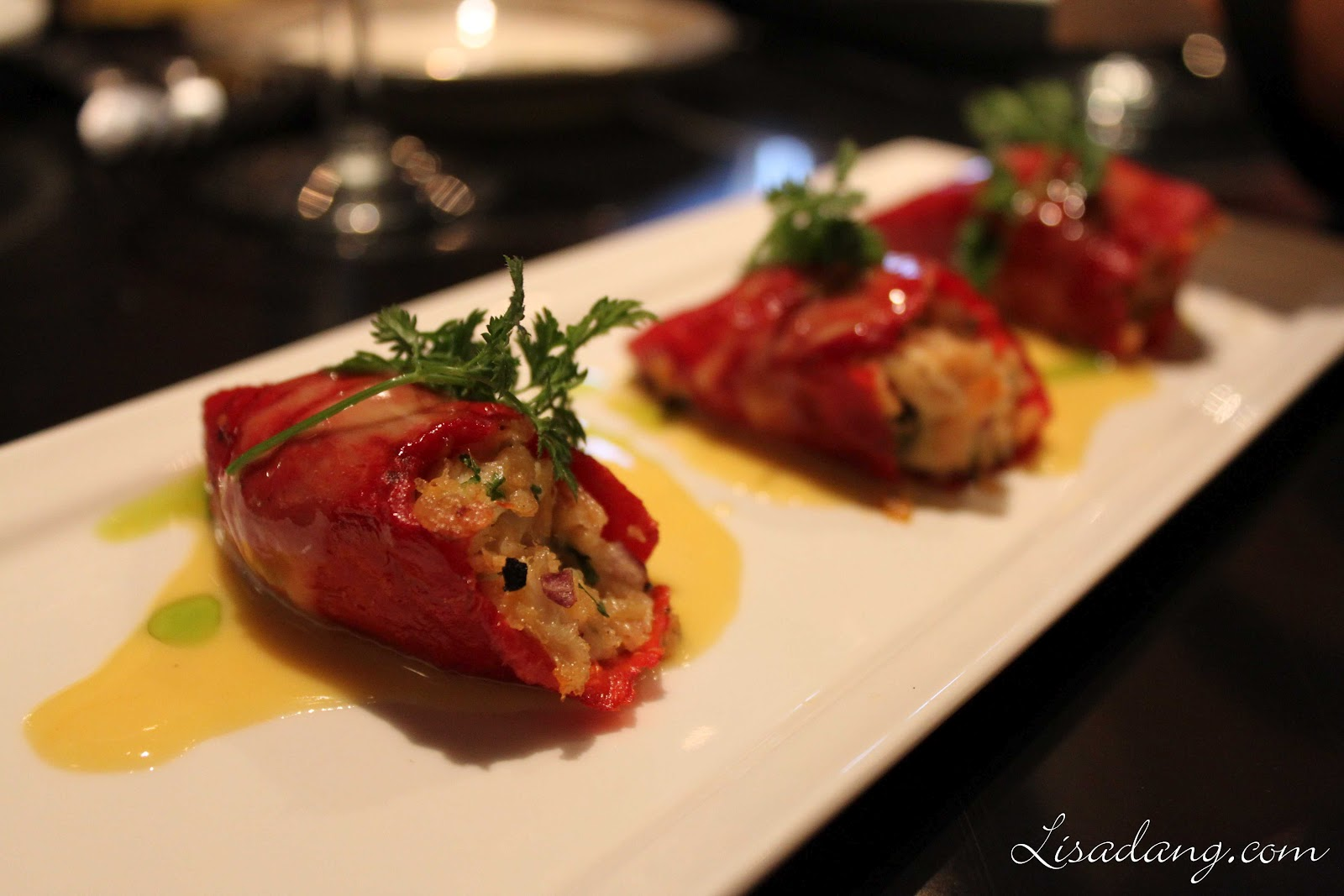 Dungeness Crab Stuffed Piquillo Peppers.
