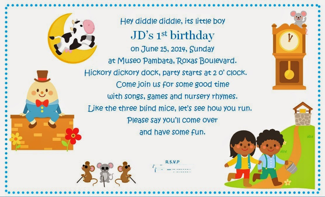 Lei Loves Life JDs Nursery Rhyme Themed First Birthday at Museo – 1st Birthday Rhymes for Invitations