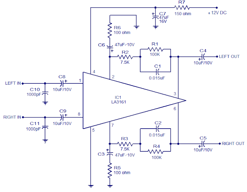 Stereo Preamplifier using LA3161