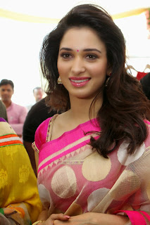 Tamanna Latest Pictures in Pink Saree at Trisha A Trendy Wish Designer Store Launch  24.jpg