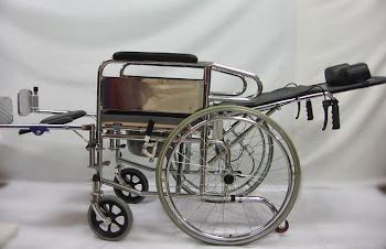 Deluxe reclining commode wheelchair