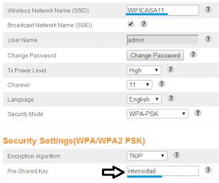 ejemplo de configuración contraseña de una red wifi