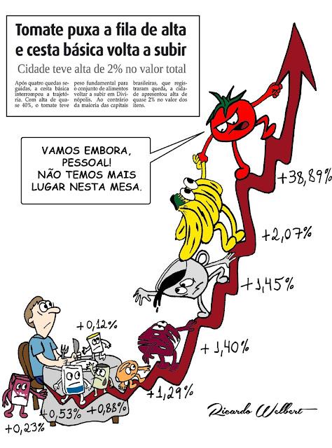 Charge publicada no jornal Agora de 13 de setembro de 2013 faz referência à elevação no preço do tomate e de outros itens básicos em Divinópolis