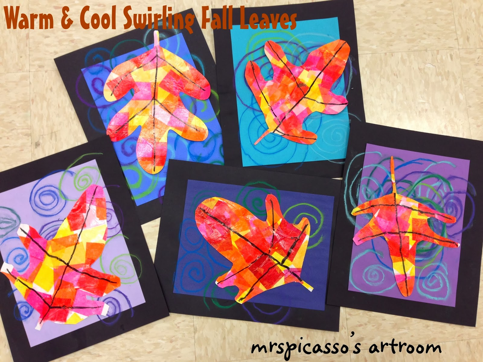 Warm cool swirling leaves for Craft work for class 3