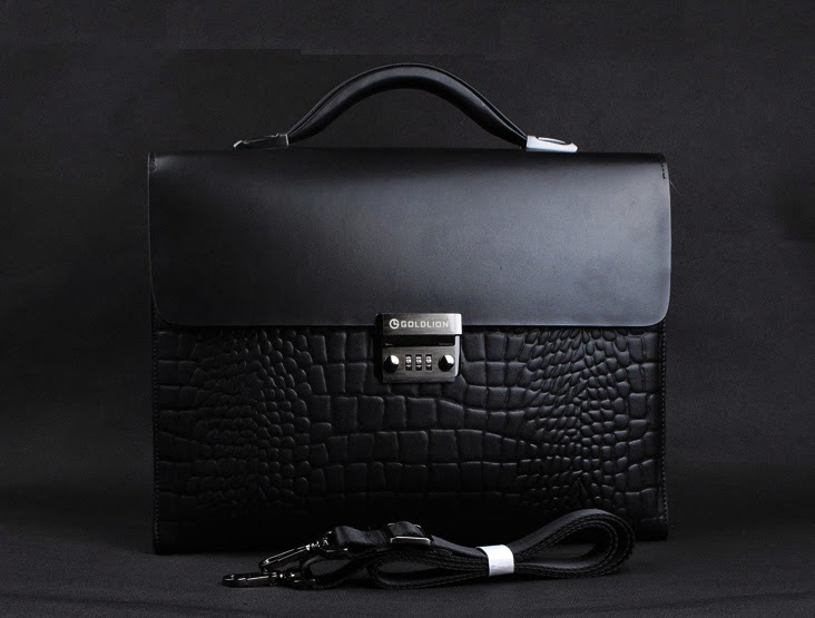 crocodile pattern leather briefcase for men