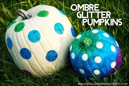 Glitter polka dot pumpkins