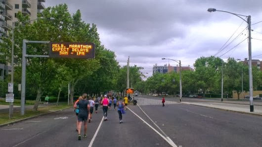 At the beginning of St Kilda Road with impending rain approaching