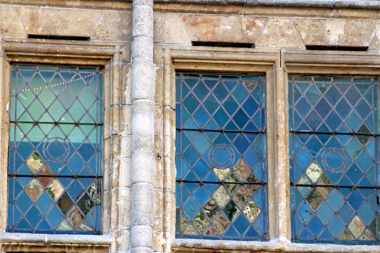 close up of old glass windows