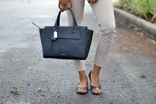 Coach Tote Bag + Ankle Pant + Leopard Flats | Fall Work Outfits
