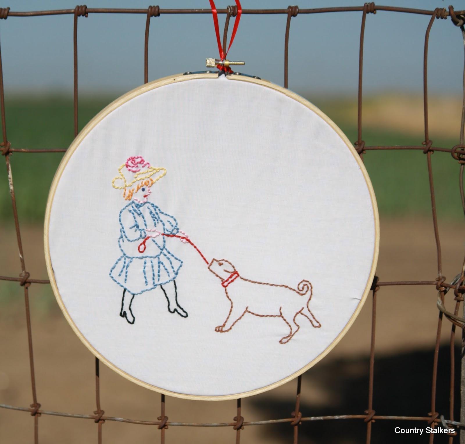 girl with dog embroidery girl with dog embroidery girl with dog ...