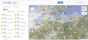 Der Wetter-Layer in Google Maps mit Legende