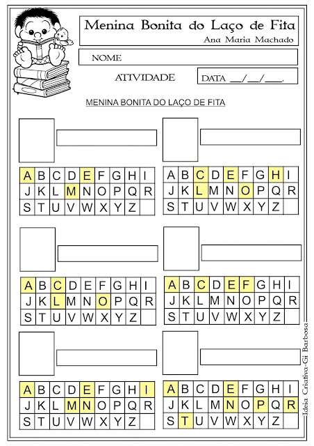 Atividade Menina Bonita do Laço de Fita Alfabetização
