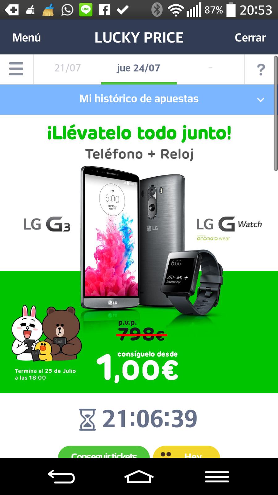 Tienes menos de 21h para conseguir un LG G3 y un LG G Watch por la menor cantidad única.