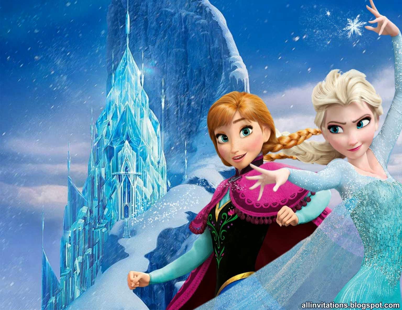 Plantilla para invitación con el tema de Frozen una aventura congelada