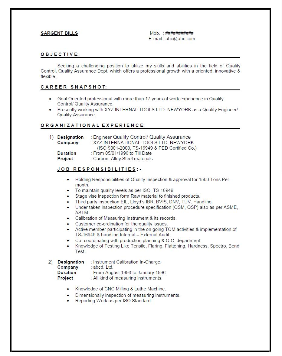 Qc Resume Sample – Job Description Chemist