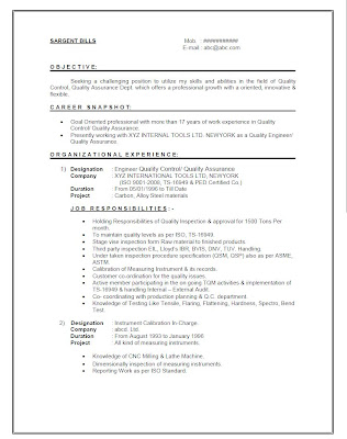 Free Quality Engineer Resume Sample Pg.No#1