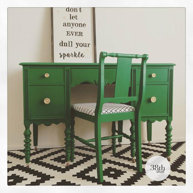 diy, painted chair and desk, emerald green, gold hardware, vintage desk, antique desk