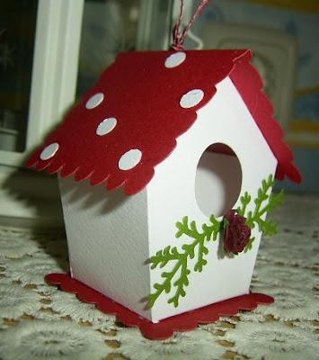Ideen mit stempeln und papier fliegenpilz vogelhaus - Vogelhaus basteln ...