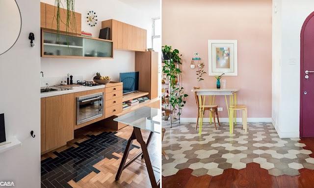 Paginação de piso com peças retangulares e hexagonais