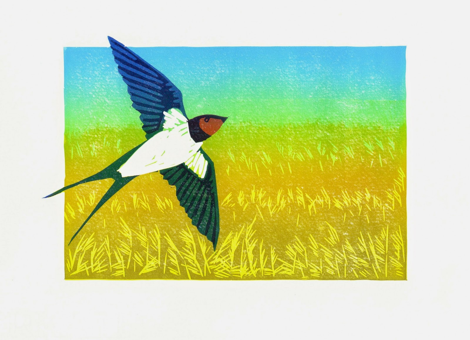 Swallow over Wicken Fen reedbeds linocut