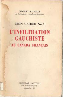 Page couverture de L'Infiltratration gauchiste au Canada français de Robert Rumily