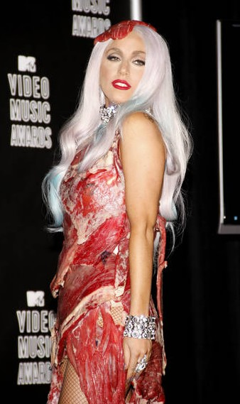 was lady gaga meat dress real. Lady Gaga#39;s Meat Dress