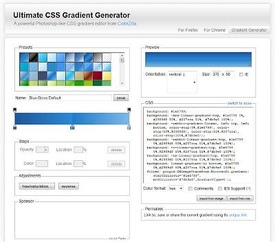 Ultimate CSS Gradient Generator - генератор эфекта градиента CSS3
