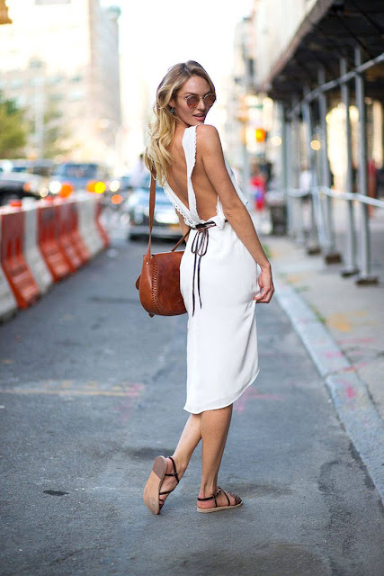 SUMMER STREET STYLE WHITE DRESS AND FLAT SANDALS