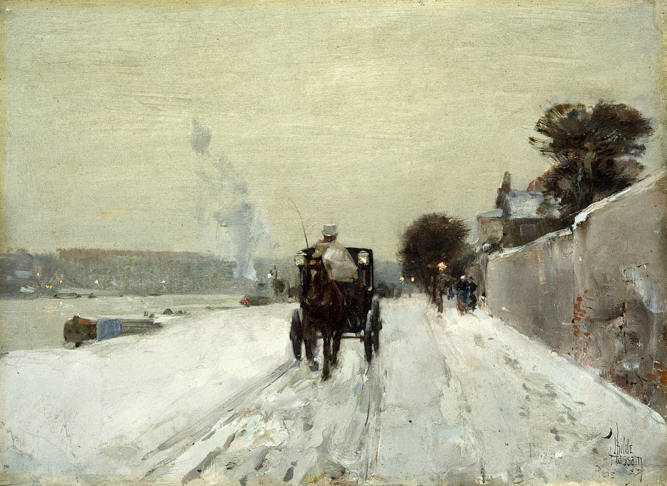 Waarom Decemberists de bandnaam  kozen - Childe Hassam - Along the Seine, Winter (1887)