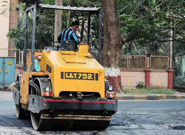 road roller at work