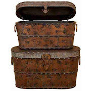 Toscana Wood Metal Trunk Set