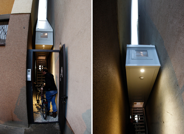 Pictures of the entrance into the alley of the house and the staircase into the house