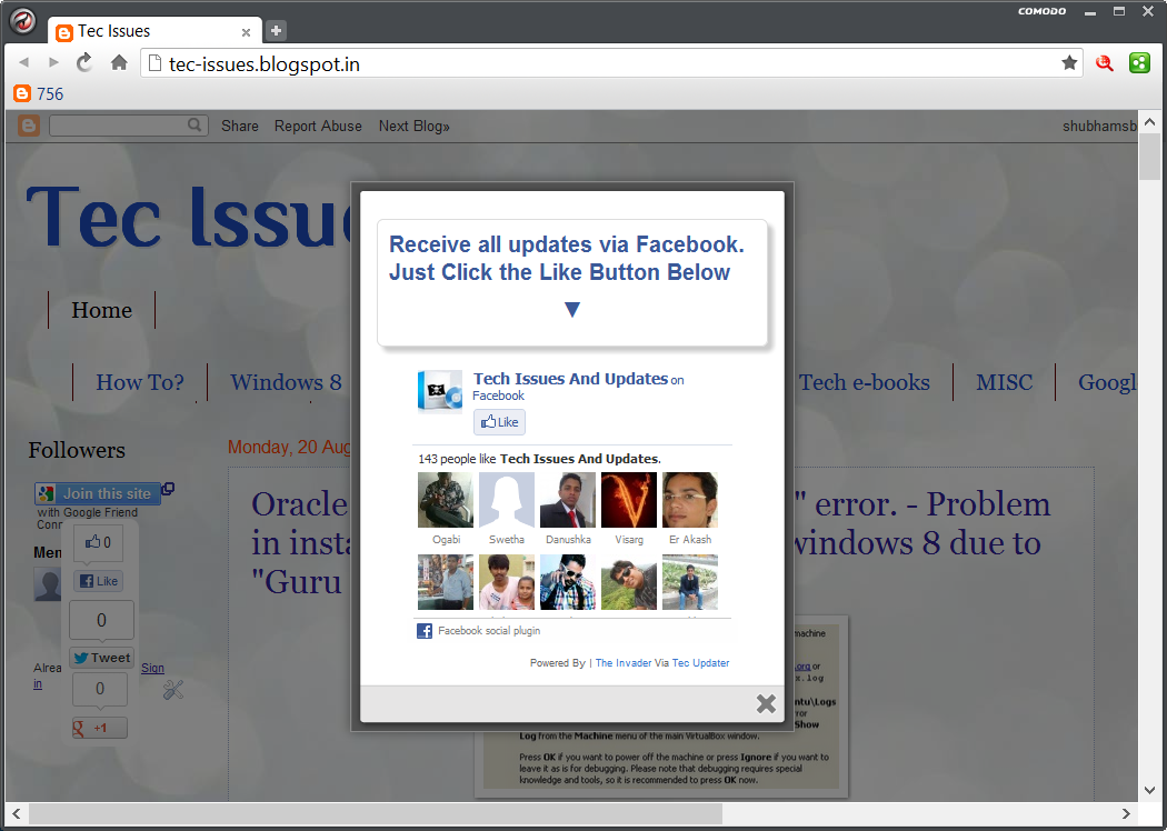 pop up facebook like box