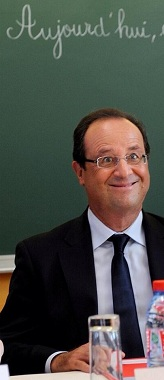François Hollande at school.