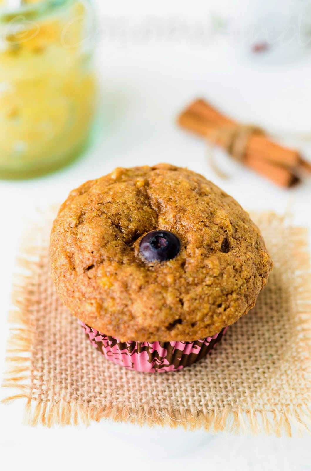 Whole-wheat oil-free Banana Blueberry Muffins