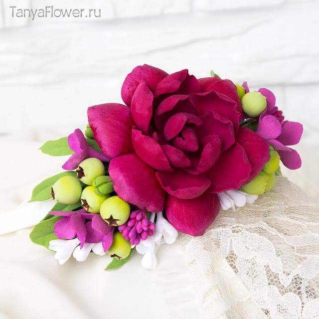 свадебный цветочный ободок ручной работы