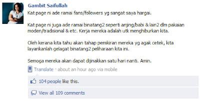 Gambit Saiffullah Samakan Peminat Dengan Babi !