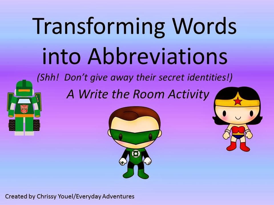 http://www.teacherspayteachers.com/Product/Transforming-Words-Into-Abbreviations-Write-the-Room-Activity-1108311