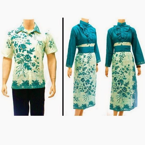 Baju pasangan muslim tosca motif bunga