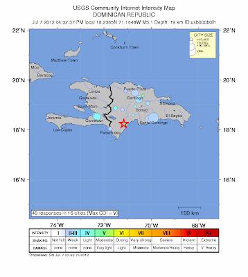 Sismi de 5,1 grados sacude republica Dominicana 07 de Julio 2012