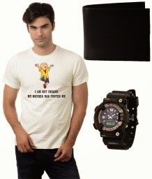 Buy Dfnk Superb Combo Of Printed T Shirt, Wallet & Sports Wrist Watch for Rs.359 at Snapdeal