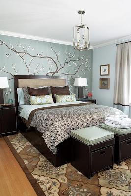 dormitorio marrón y azul