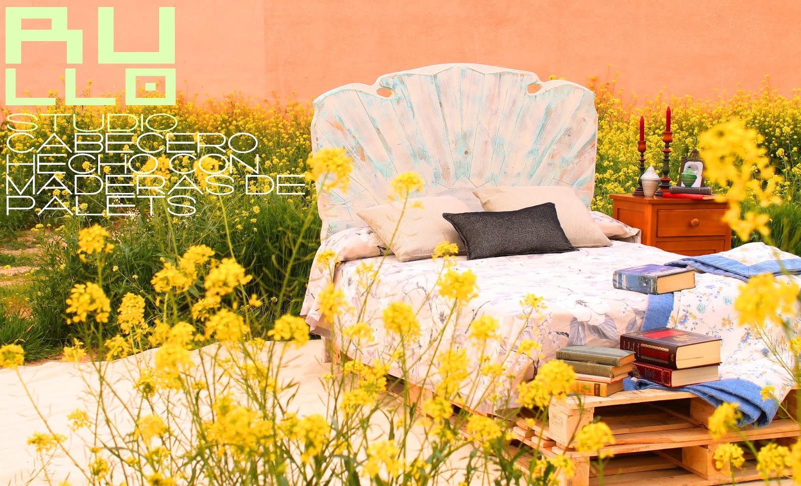 Cabecero de cama con maderas de palets rullo studio - Cabeceros de cama diseno ...