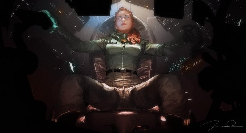 women+futuristic+pilot+cockpit+captain+s