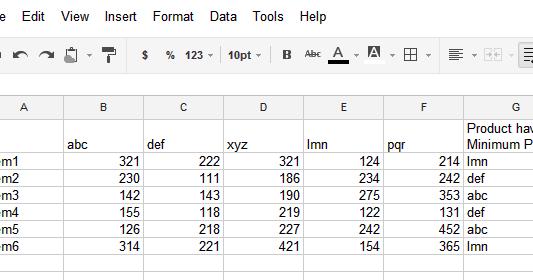 Igoogledrive google spreadsheet how to return the column for Html table column header