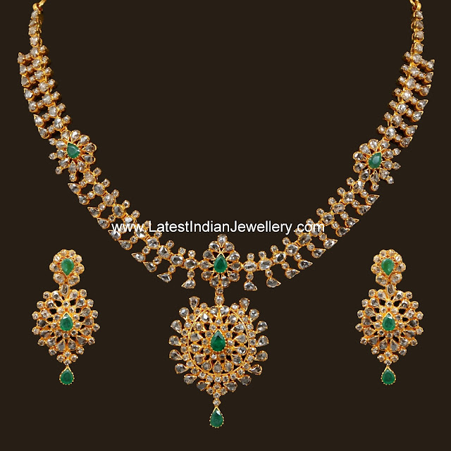 Glass Polki Emerald Necklace Set