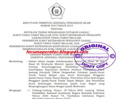 Download Petunjuk Teknis Pengesahan Ijazah Madrasah