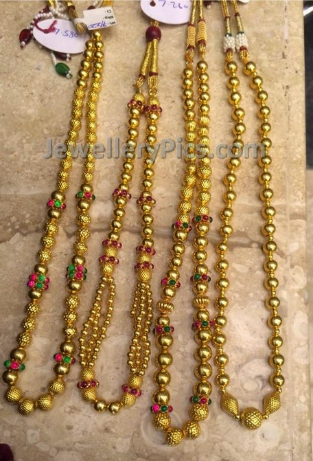 Gold Pusala Chains Latest Jewellery Designs